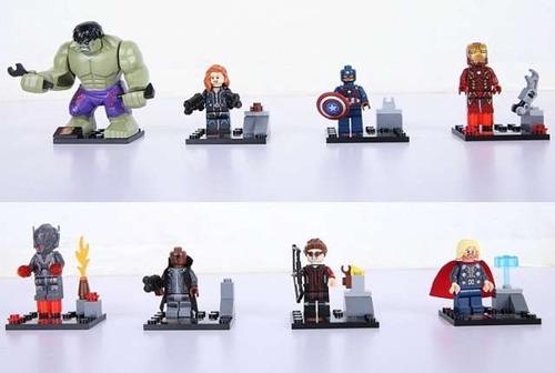 figuras de legos de avergers hulk iron man capitan thor