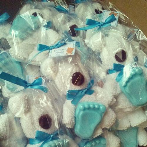 figuras de toalla+1 jabón de glicerina  baby shower bautizo