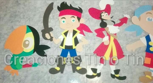 figuras en goma eva de jake y los piratas