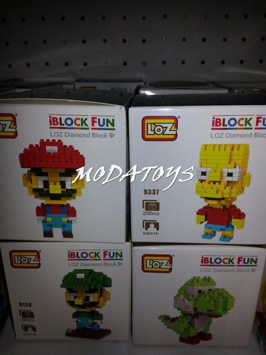 figuras lego mario bros luigi yoshi bart simpson iblocks