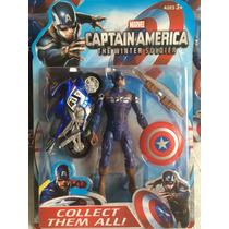 Capitan America Con Su Moto Advenger 13 Cm Con Accesorios