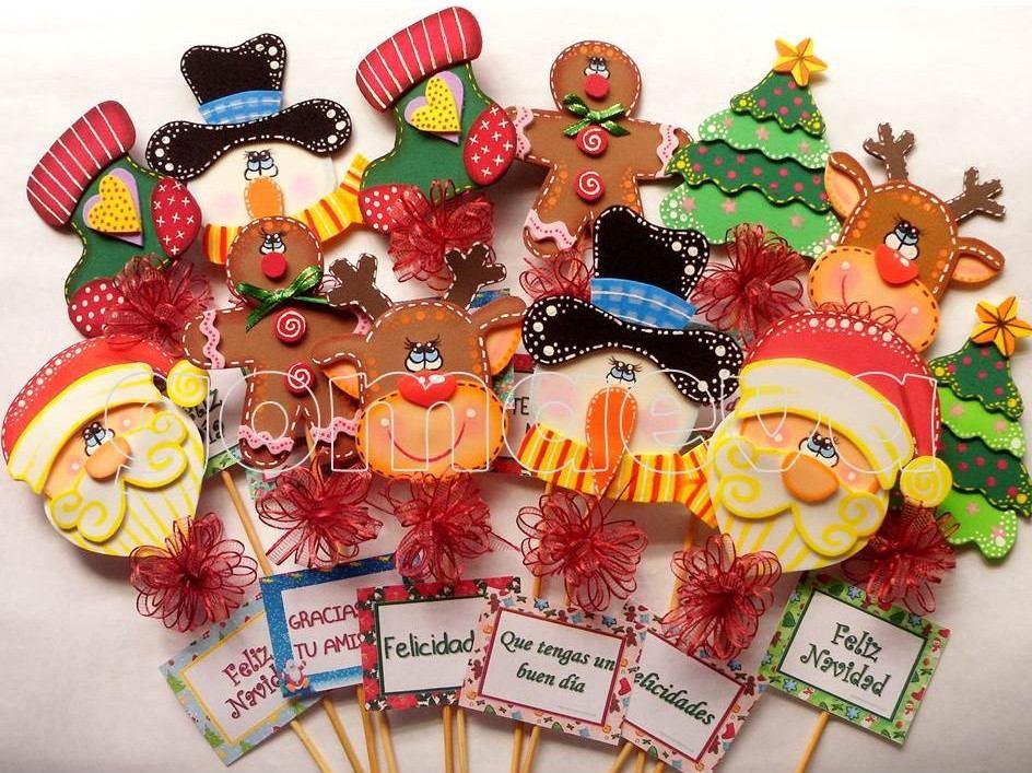 figuras recuerditos apliques en foami para decorar navidad