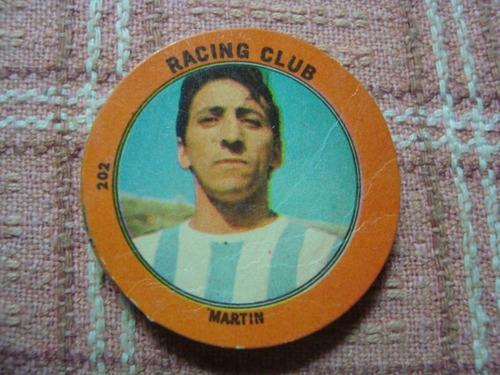 figurita futbol album golazo 1965 racing martín 202
