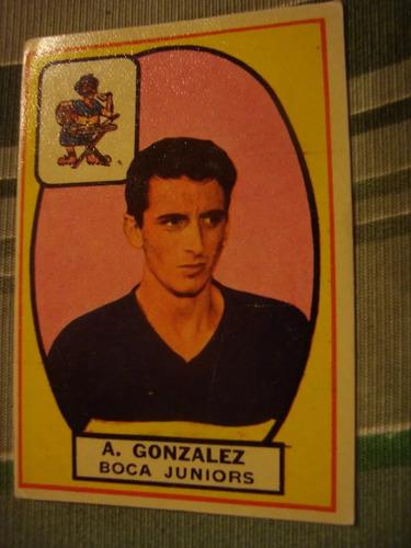 figurita tarjetón futbol album campeón 1966 boca gonzalez