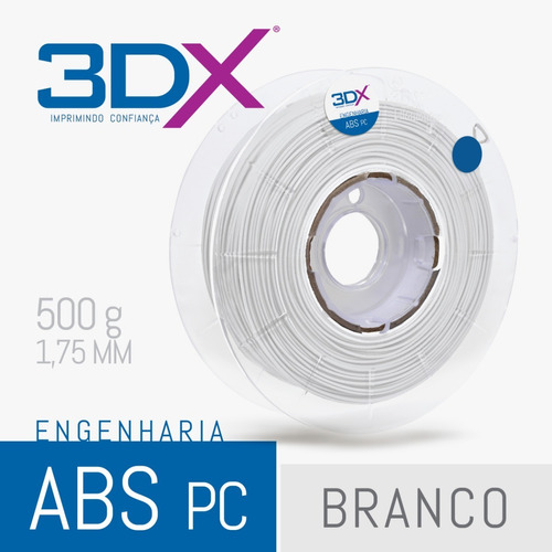 filamento abs pc 1,75 mm | 500g (policarbonato) branco 3dx