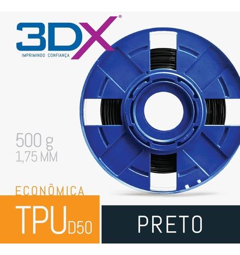 filamento flex tpu d50 1,75 mm | 500g preto s2