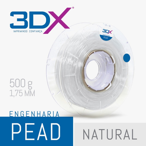 filamento pead 1,75 mm   500g natural (polietileno)