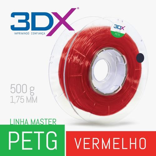 filamento petg 1,75 mm | 500g | vermelho translucido