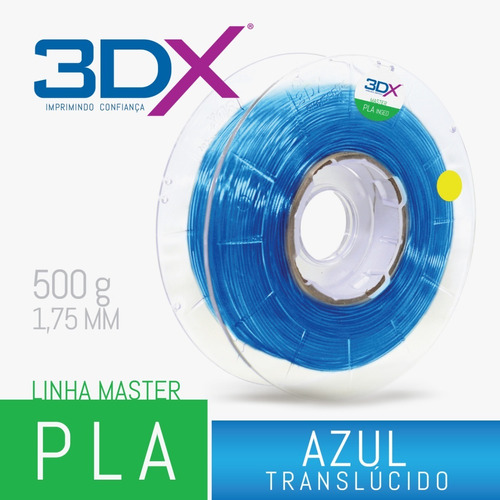 filamento pla azul translucido 1,75 mm | 500g 3dx