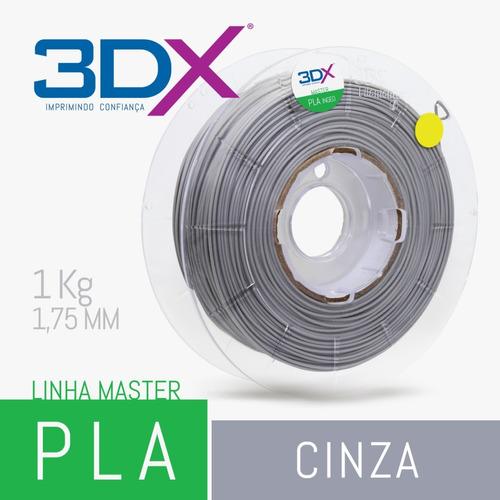 filamento pla cinza   1,75   1kg   3dx   full