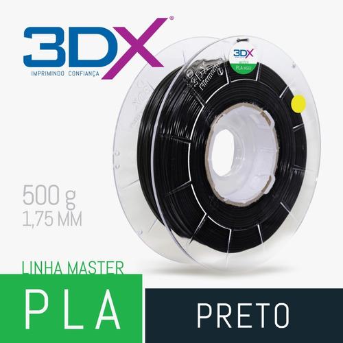 filamento pla preto 1,75mm 500g 3dx full