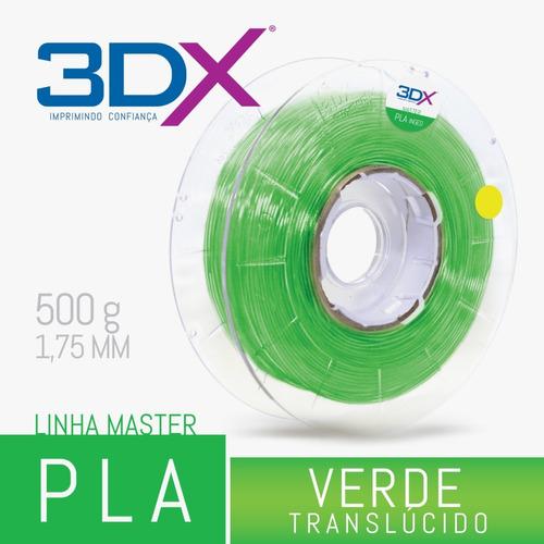 filamento pla verde translucido 1,75 mm | 500g 3dx