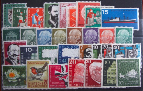 filatelia, alemania federal 1957 año completo mint