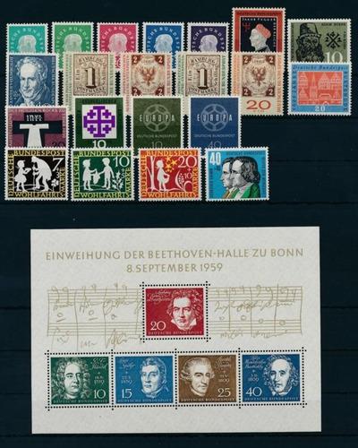 filatelia, alemania federal 1959 año completo mint