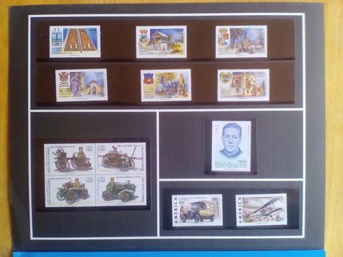 filatelia, chile carpeta oficial con los sellos año 1994