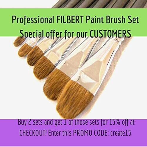 filbert paint brush sets red sable comadreja