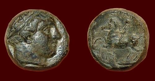 filipe 2 da macedonia. moeda grega grécia apolo & cavaleiro