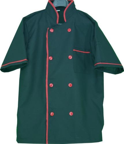 filipina de chef, negra con rojo, poliester, mc