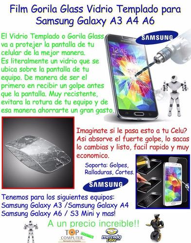 film gorila glass vidrio templado samsung galaxy a3 a4 a6