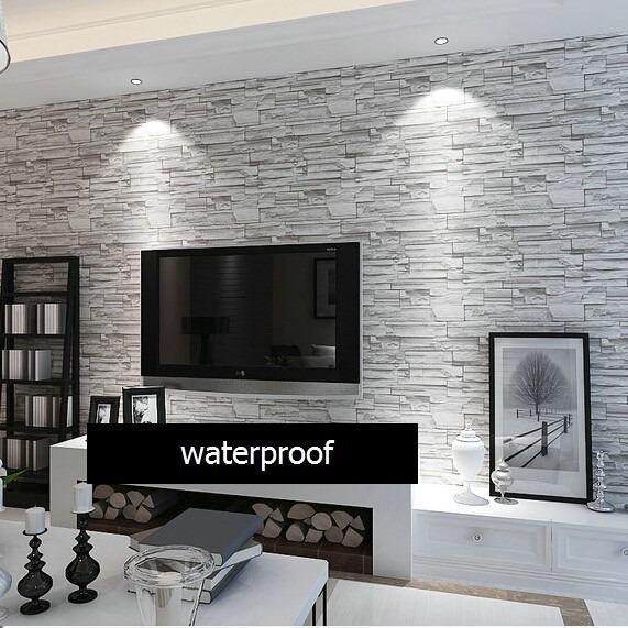 Film papel adhesivo empapelar paredes simil piedra 1x122 - Papel de empapelar paredes ...