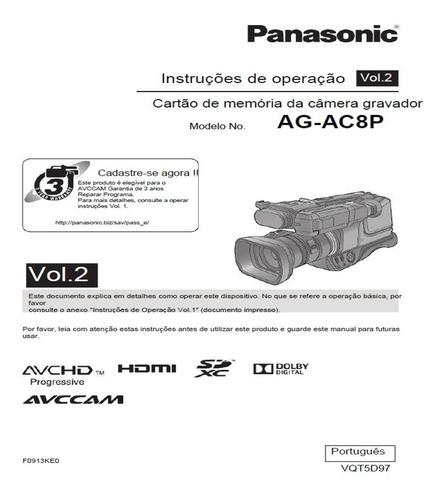 filmadora panasonic ag-ac8p full hd, 18h de uso c/acessórios