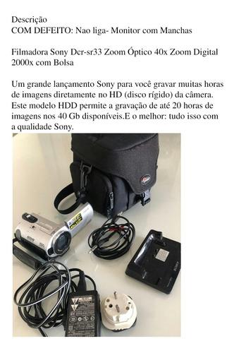 filmadora sony dcr-sr33 zom óptico 40x com bolsa
