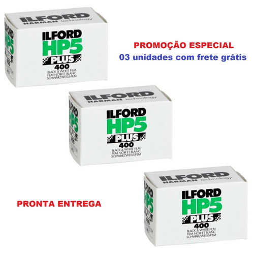filme 35mm ilford hp5 iso 400 - rolo com 36 poses 3 unidades