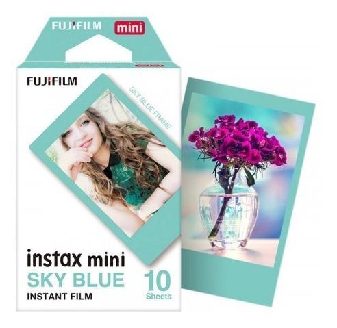 filme instax 30 cor- borda preta- azul claro- coloridas