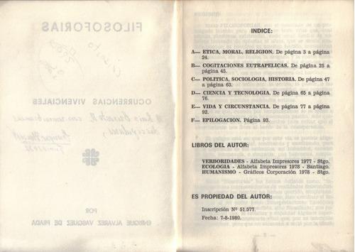 filosoforias ocurrencias vivenciales / enrique álvarez v.
