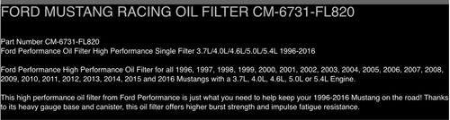 filtro aceite ford racing cm-6731-fl820 ford mustang