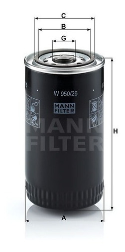 filtro aceite mann w950/26 | ford - iveco - vw- new holand