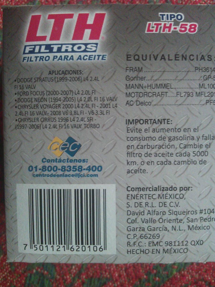 Filtro De Aceite Lth 58 Para Dodge Stratus Focus Etc