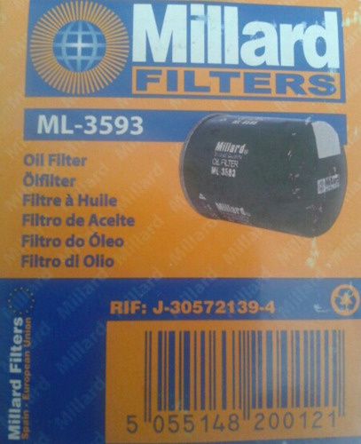 filtro aceite vl3593 lancer signo murano palio honda