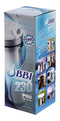 filtro agua 9 3/4 ponto de uso pou carvão bbi tr + 2 refis