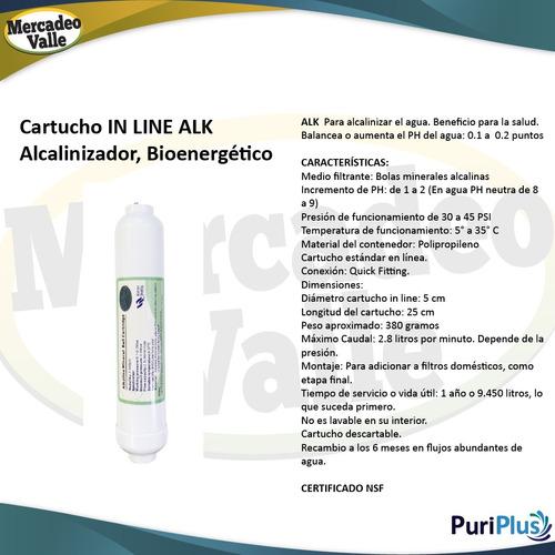 filtro agua kit alcaliniza + carbón coco in line nevera