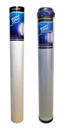 filtro agua kit x 2 membranas cartucho 20 pulg slim gac y pp
