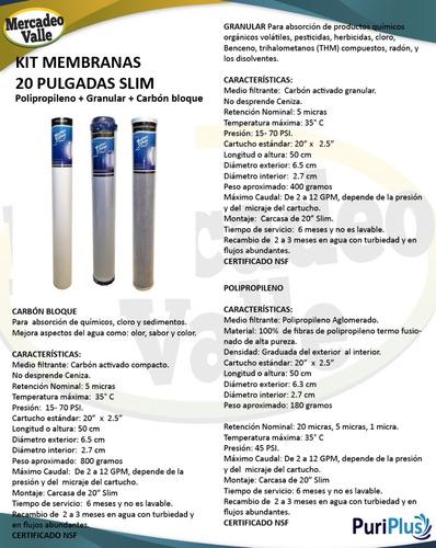 filtro agua kit x 3 membranas cartuchos 20 pulgadas slim