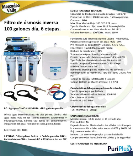 filtro agua osmosis inversa 100gpd ultravioleta uv 6 etapas
