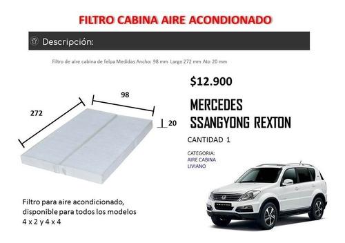 filtro aire acondicionado ssangyong rexton