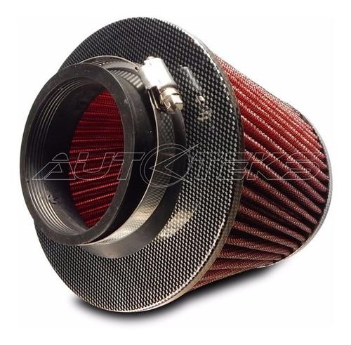 filtro aire alto flujo spin cónico rojo fibra carbón 07