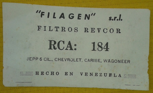filtro aire jepp wagoneer chevrolet caribe 184 6 cilindros