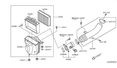 filtro aire motor  completo nissan murano 2003 2007 c/maf