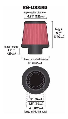 filtro alto flujo k&n induccion directa universal rg1001bl
