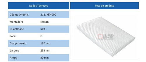 filtro anti-pólen / cabine ar condicionado nissan sentra 2007 em diante