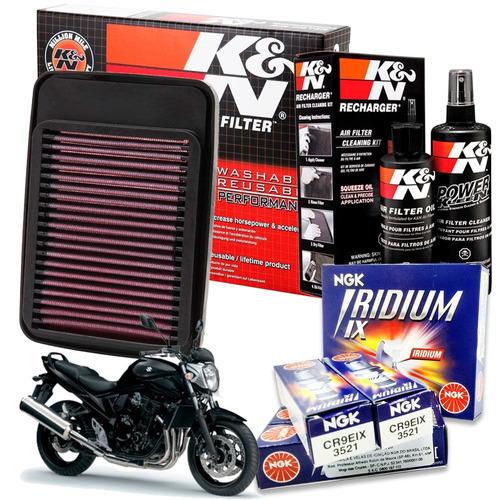 filtro ar k&n bandit 650 todas + kit limpeza + vela iridium