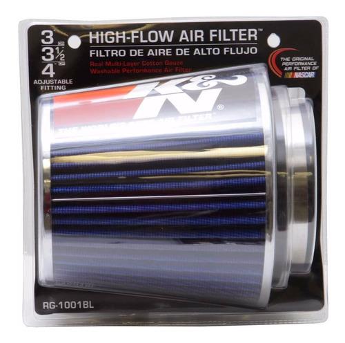 filtro ar k&n duplofluxo ajustavel rg-1001bl adesivos brinde