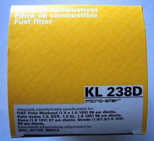 filtro combustivel palio strada weekend kl238d metal leve