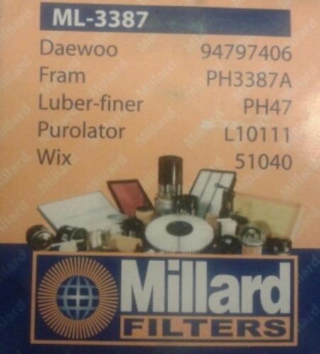 filtro de aceite aveo millard ml.3387