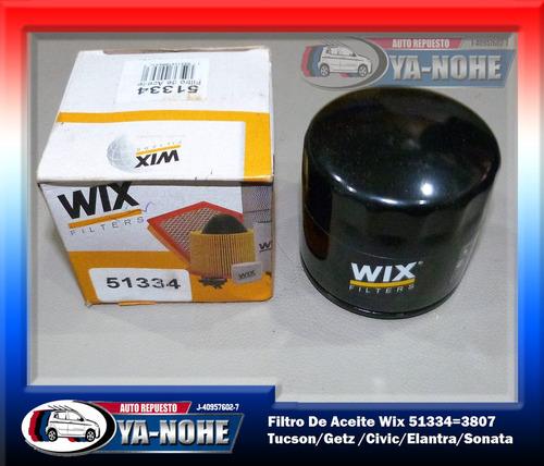 filtro de aceite wix tucson/getz /civic/elantra 51334=3807