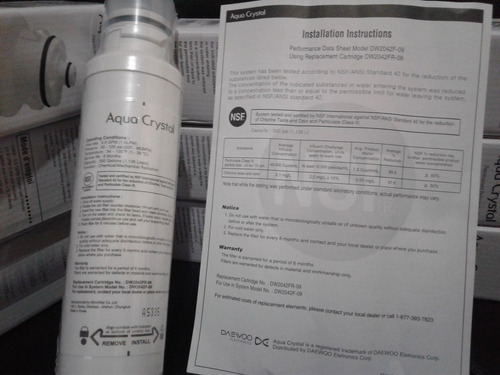filtro de agua interno daewoo original   / whirpool